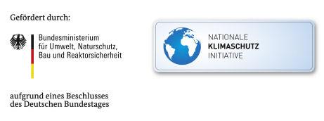Schrift-Bild-Marke: Gefördert durch das Bundesministerium für Umwelt, Naturschutz, Bau und Reaktorsicherheit aufgrund eines Beschlusses des Deutschen Bundestages. Nationale Klimaschutzinitiative