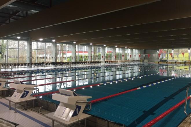 Sicht auf das Sportbecken im Schwimmzentrum Rüttenscheid