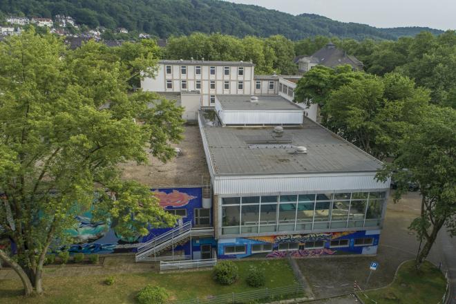Foto: Luftbildaufnahme des Stadtbads Werden