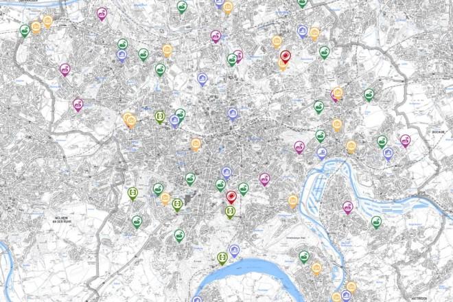 Grafik: Kartenausschnitt Stadtplan der Stadt Essen mit eingezeichneten Sportanlagen