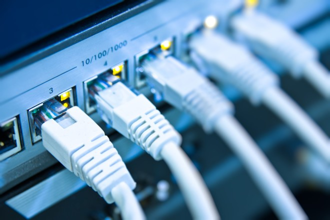 Foto: mehrere eingesteckte Netzwerkkabel