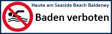 Logo und Schriftzug: Heute am Seaside Beach Baldeney - Baden verboten