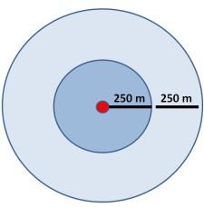 Grafik: Radius eines Evakuierungsbereiches