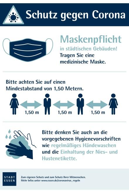 Grafik: Infografik zum Schutz gegen Corona und zur Maskenpflicht in städtischen Gebäuden