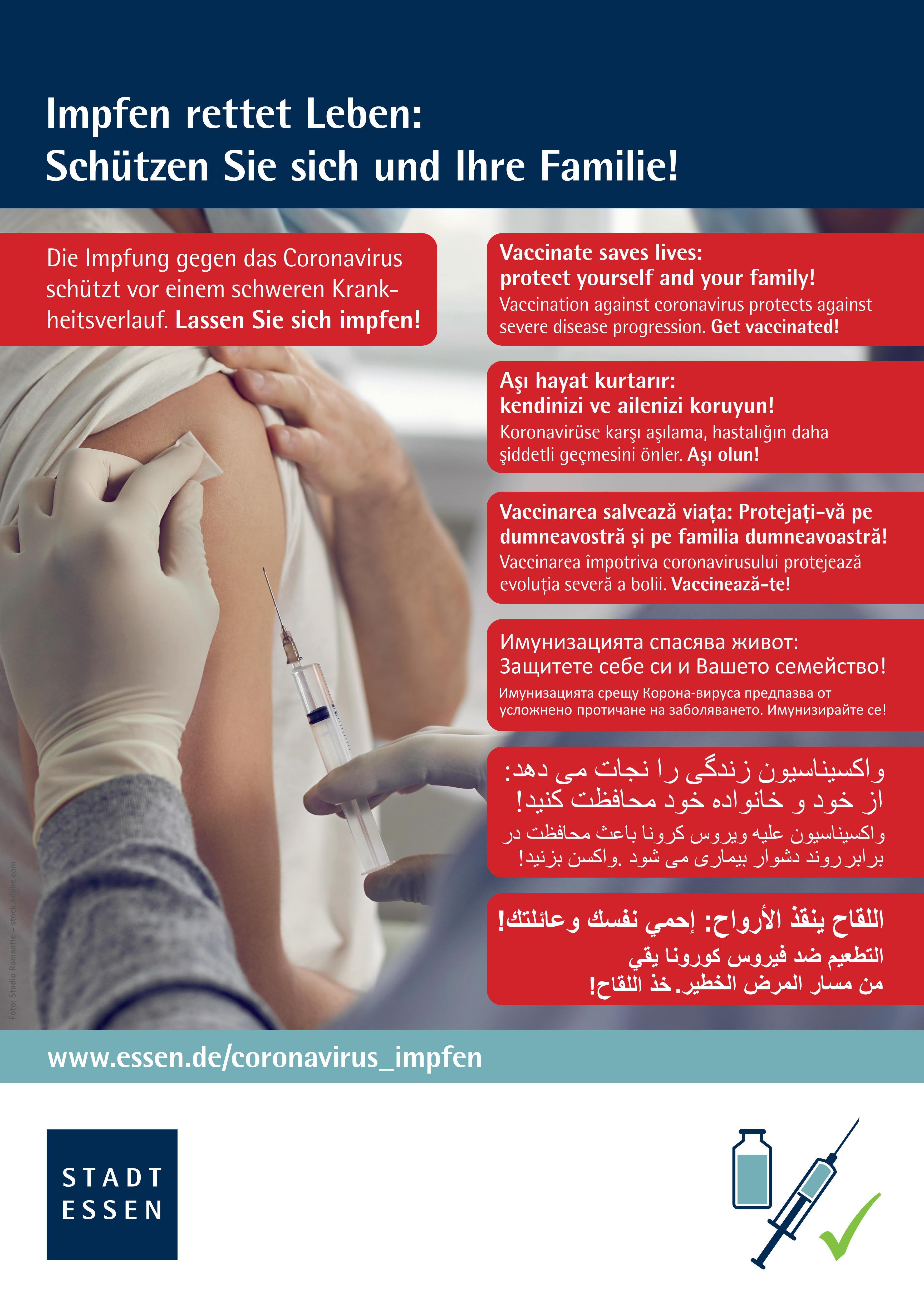 Plakat: Schutzimpfung in 6 Sprachen