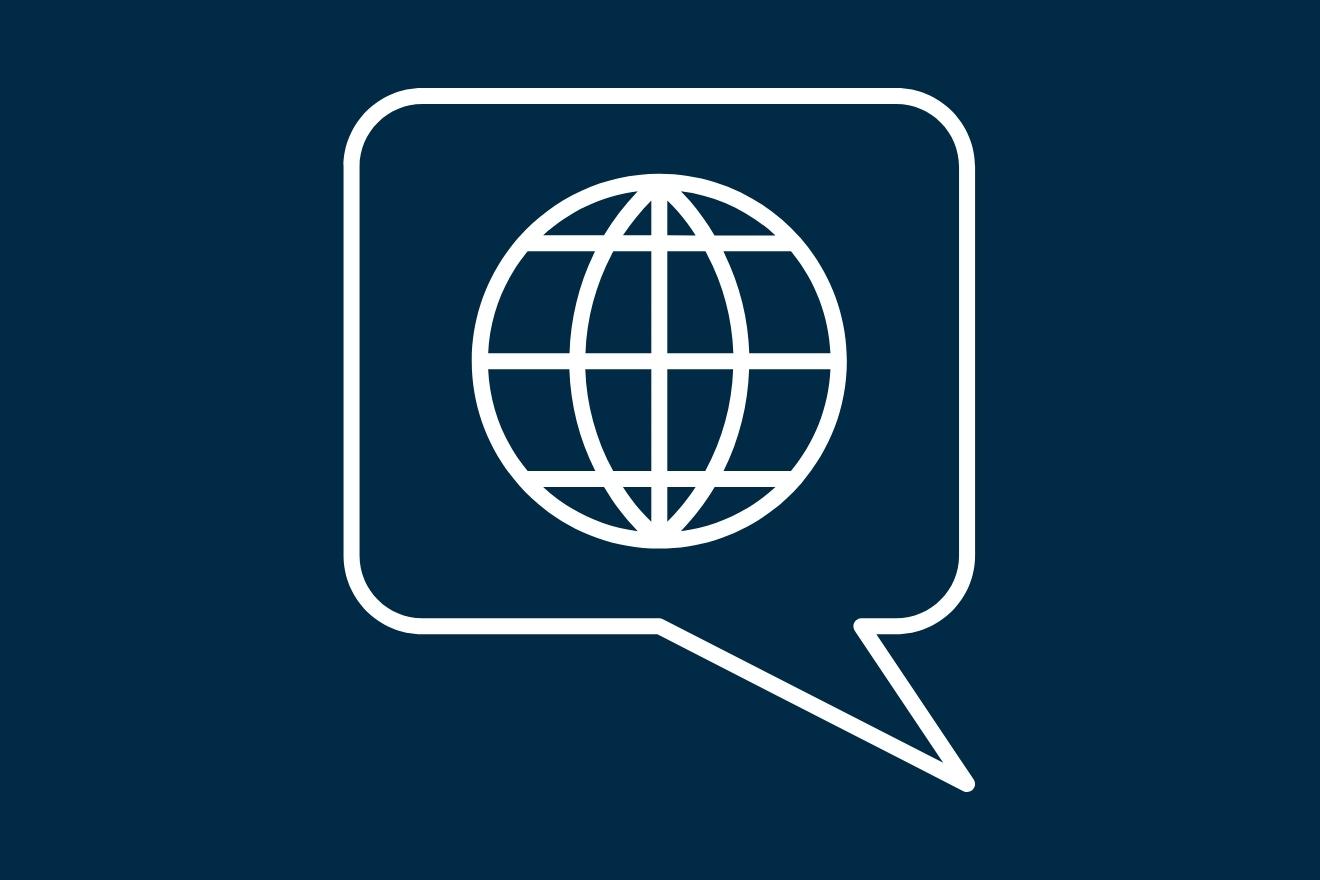 Piktogramme: Globus und Sprechblase