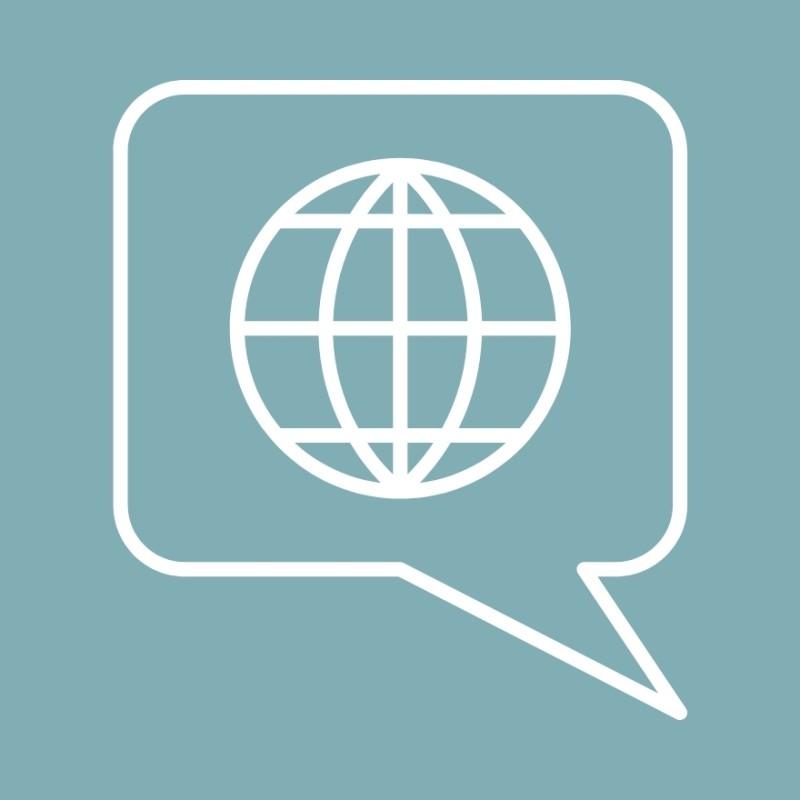 Piktogramme: Globus in Sprechblase
