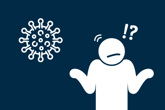 Piktogramme: Virus neben Person, die Arme fragend hochhebt