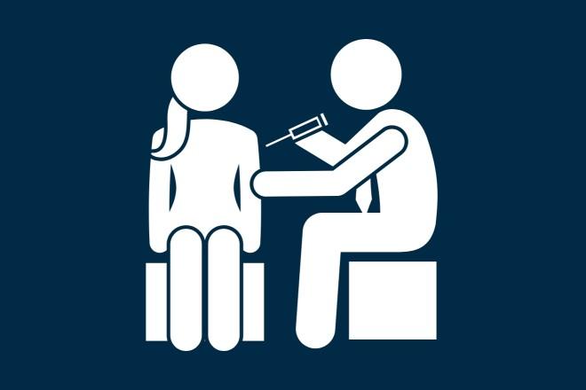 Piktogramm: Eine Person impft eine andere Person mit einer Spritze