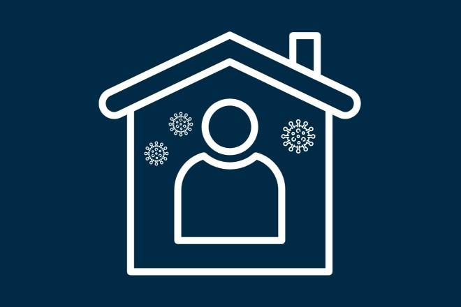 Piktogramm: Person von Coronaviren umgeben in Haus