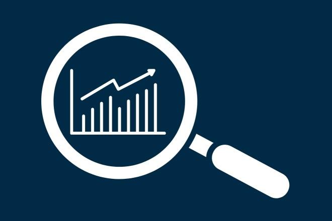 Piktogramme: Lupe über Statistik