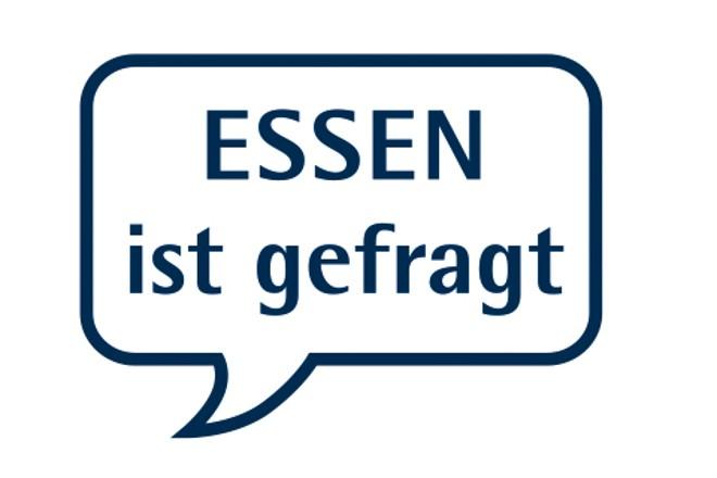 """Logo: Links die Marquette der Stadt Essen rechts daneben eine Sprechblase in der steht """"Essen ist gefragt"""""""