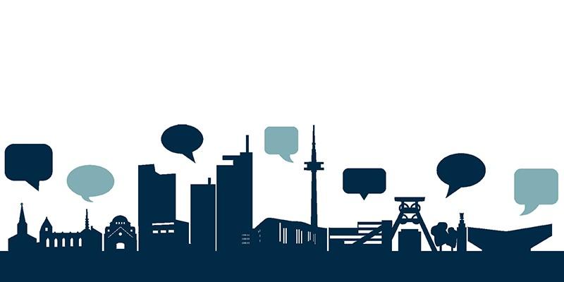 Grafik: Sprechblasen über der stilisierten Skyline der Stadt Essen
