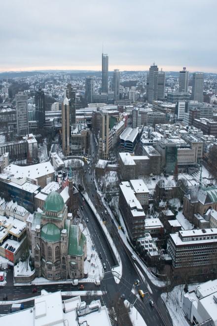 Essener Innenstadt, mit Schnee bedeckt