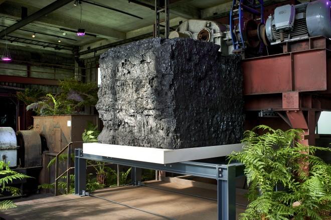 Der Kohlebrocken stammt aus dem Bergwerk Prosper-Haniel in Bottrop. Mit seinen Maßen 160x160x160 cm und einem Gewicht von rund 7 Tonnen ist er der größte Steinkohlebrocken des Ruhrgebietes.