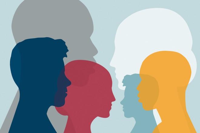 Illustration - Kopf-Silhouetten im Profil in verschiedenen Farben, die sich die Gesichter zuwenden