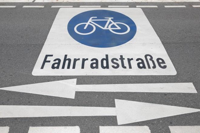 Foto: Fahrradstraßen-Markierung