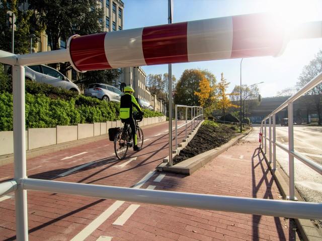 Rampe zur Protected Bike Lane
