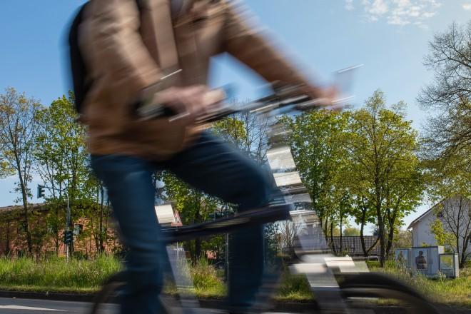Foto: Fahrradfahrer in Bewegung.