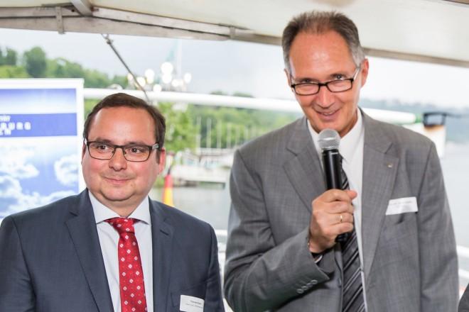 Universitätsempfang für die Neuberufenen. V.l.n.r.: Oberbürgermeister Thomas Kufen, Unirektor Prof. Dr. Ulrich Radtke und Sören Link, Oberbürgermeister der Stadt Duisburg