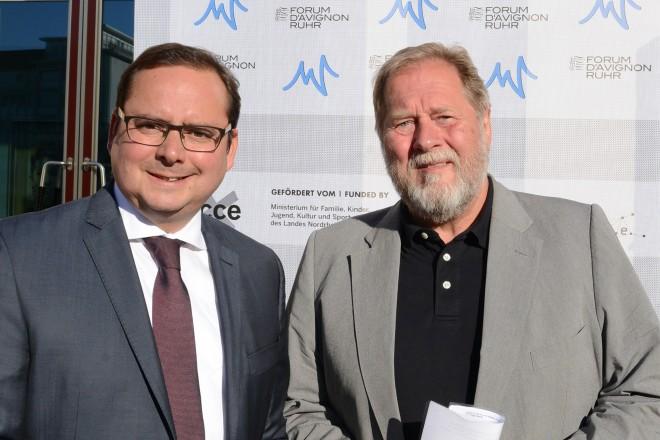 """Oberbürgermeister Thomas Kufen ( links ) und Prof. Dieter Gorny, Geschäftsführer der ecce beim """"N.I.C.E. Executive Dinner"""""""