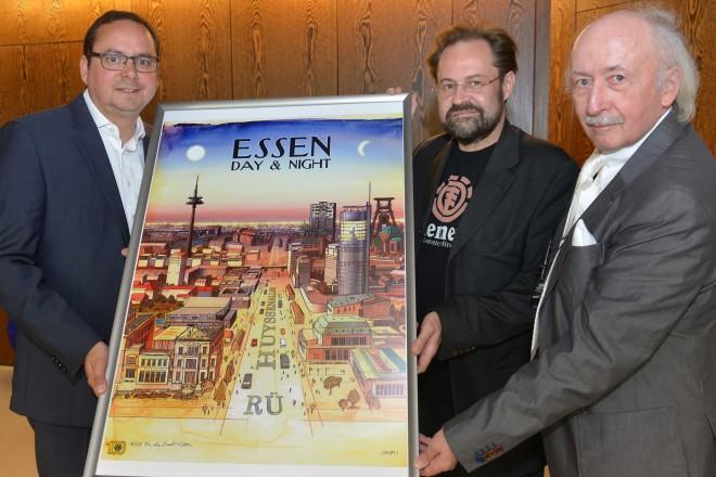V.l.n.r.: Oberbürgermeister Thomas Kufen, Jan-Michael Richter und Peter Kappert.