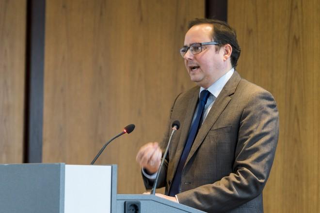 """Oberbürgermeister Thomas Kufen bei den Feierlichkeiten zu """"50. Jahre Grundstücksbörse""""."""