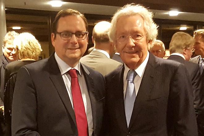 Empfang Politisches Forum Ruhr Oberbürgermeister Thomas Kufen (links) und Dr. Stephan Holthoff-Pförtner