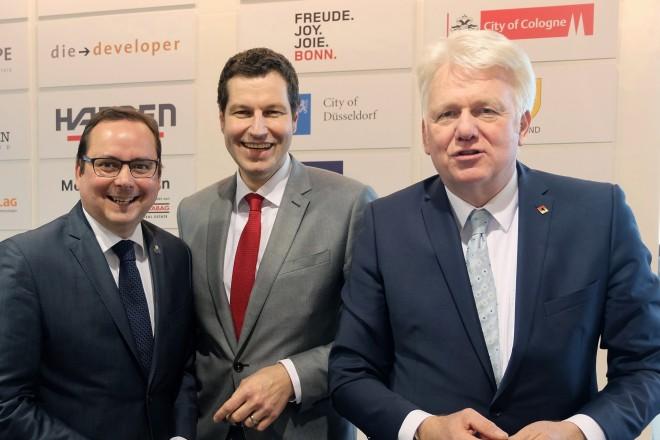 MIPIM 2017 in Cannes. Auf dem Foto die Oberbürgermeister der Revierstädte (v.l.n.r.) Thomas Kufen (Essen), Thomas Eiskirch (Bochum) und Ulrich Sierau (Dortmund).