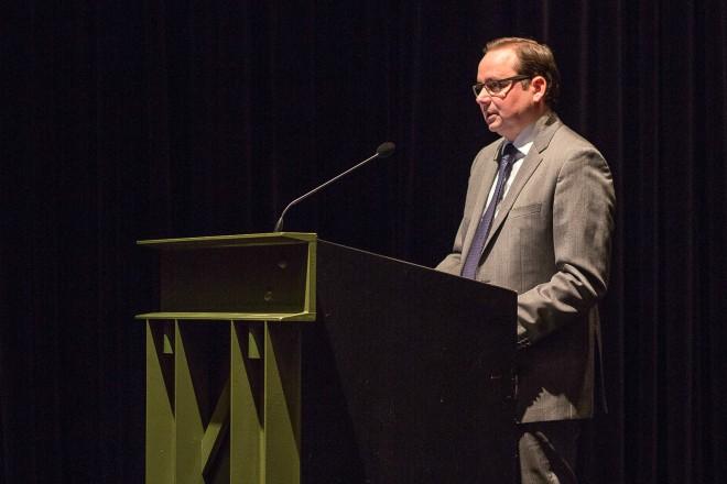 Oberbürgermeister Thomas Kufen beim Essener EnergieForum 2017.