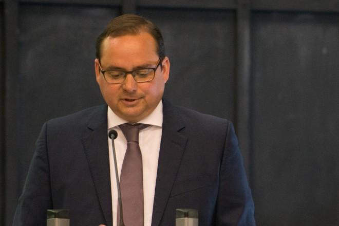 Oberbürgermeister Thomas Kufen richtet Grußworte an die Teilnehmerinnen und Teilnehmer des 51. Rheinischer Archivtag am 6. und 7. Juli 2017 im Haus der Essener Geschichte/Stadtarchiv.