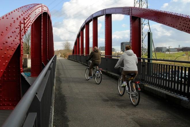 Fahrradzählung Radfahrer auf der Rheinischen Trasse