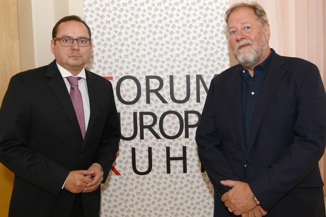 Oberbürgermeister Thomas Kufen ( links ) und Prof. Dieter Gorny beim Forum Europe Ruhr 2017