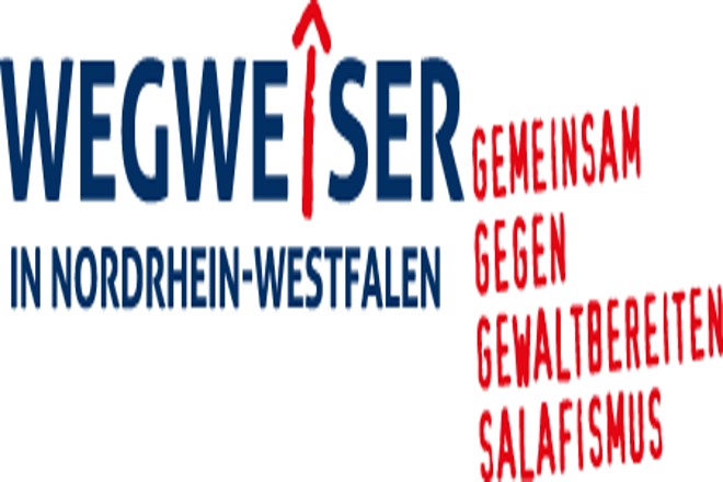"""Ein Logo mit der Schrift """"Wegweiser in Nordrhein-Westfalen. Gemeinsam gegen gewaltbereiten Salafismus"""""""