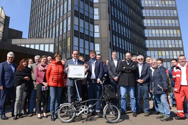 Übergabe der Zertifizierung der Stadt Essen als fahrradfreundlicher Arbeitgeber.