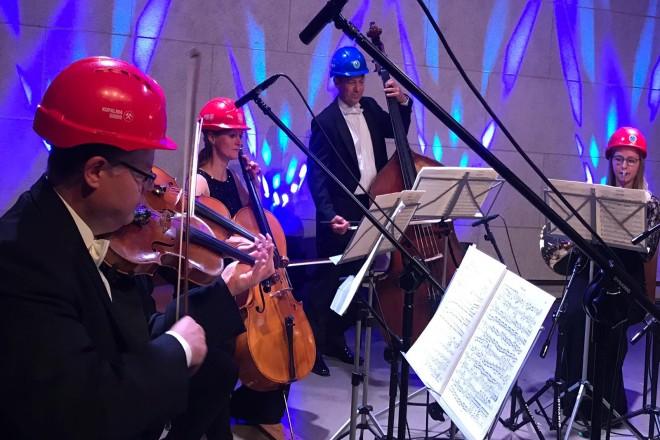 Musikerinnen und Musiker mit Streichinstrumenten.