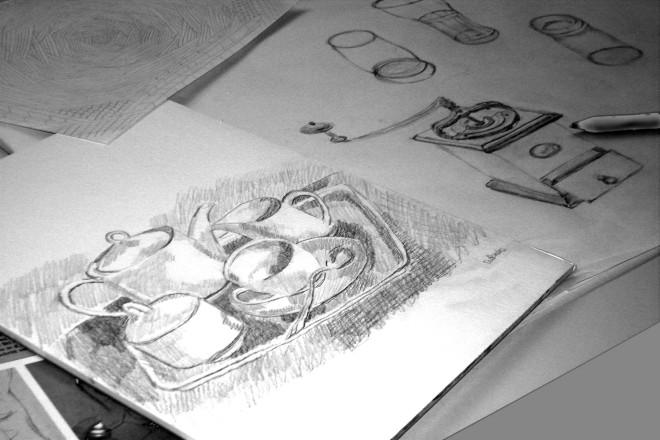 """Kurs """"Zeichnen und Skizzieren"""" im Schloß Borbeck"""