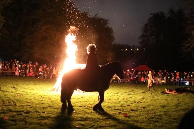 Traditioneller Martinsumzug im illuminierten Grugapark