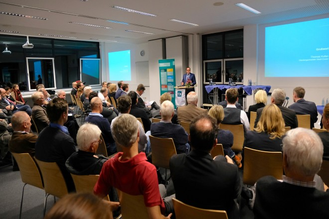 Oberbürgermeister Thomas Kufen spricht bei der Abschlussveranstaltung Sportmonitor Essen 2018
