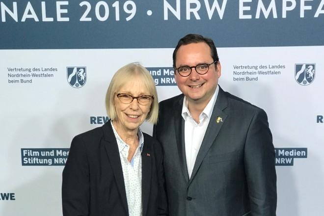 Marianne Menze und Oberbürgermeister Thomas Kufen auf der Berlinale 2019.