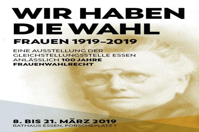 """Plakat zur Ausstellung """"WIR HABEN DIE WAHL. Frauen 1919 - 2019""""."""