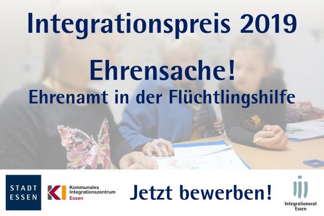 Werbebanner: Integrationspreises der Stadt Essen für Eherenamtliche Bürger in der Flüchtlingshilfe.