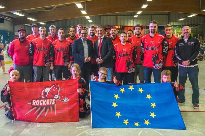 Oberbürgermeister Thomas Kufen bei der Eröffnung des Rollhockey-Europacups der Pokalsieger in Essen.
