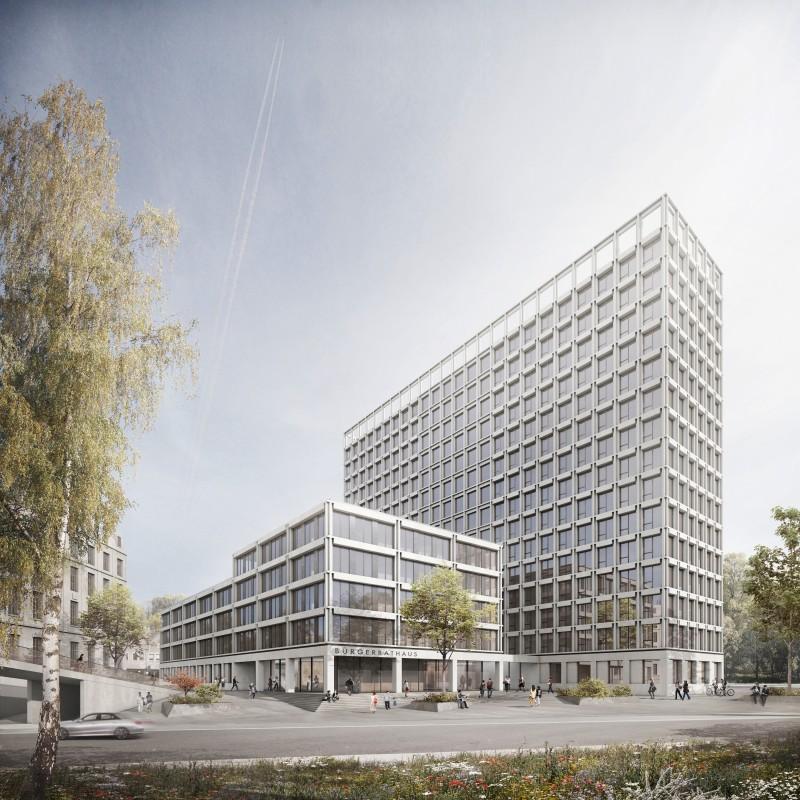 Grafische Darstellung des Siegerentwurfs im Architektenwettbewerb zum BürgerRatHaus