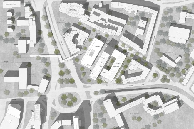 Lage des Siegerbeitrags im Architektenwettbewerb zum BürgerRatHaus aus der Vogelperspektive