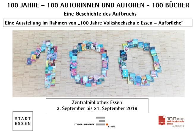 """Foto: Ausstellung """"Eine Geschichte des Aufbruchs: 100 Jahre – 100 Autorinnen und Autoren – 100 Bücher""""."""