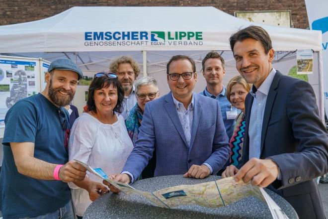 Eröffnungsfest zum Baustellenstart am Katernberger Bach mit Oberbürgermeister Thomas Kufen.