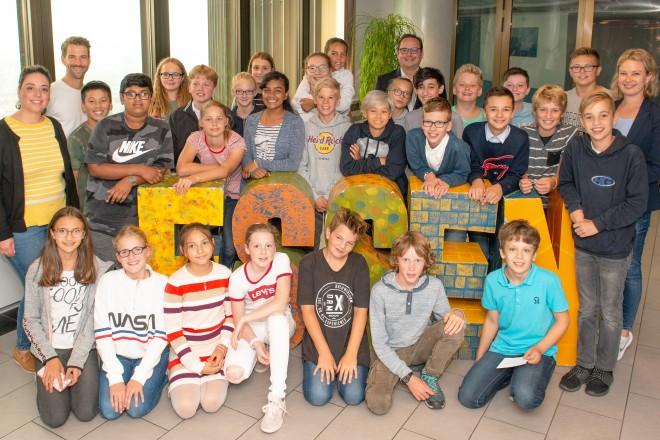 Oberbürgermeister Thomas Kufen begrüßte die Schülerinnen und Schüler der Klasse 7e des Helmholtz-Gymnasiums im Rathaus.