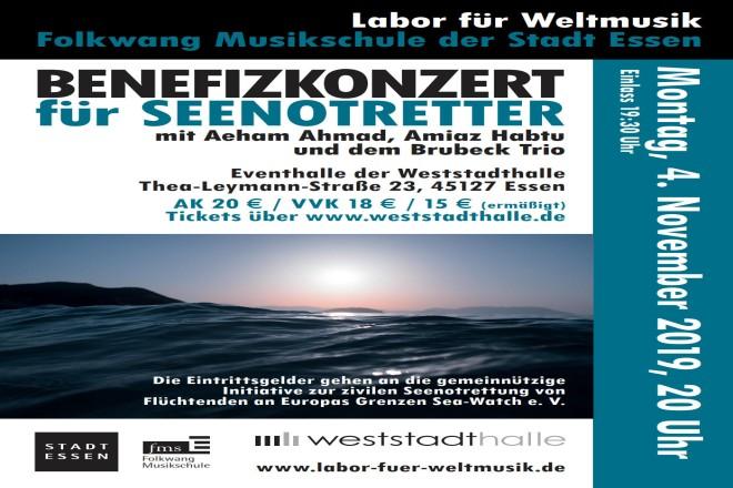Abbildung: Benefizkonzert für Seenotretter: Labor für Weltmusik in der Weststadthalle
