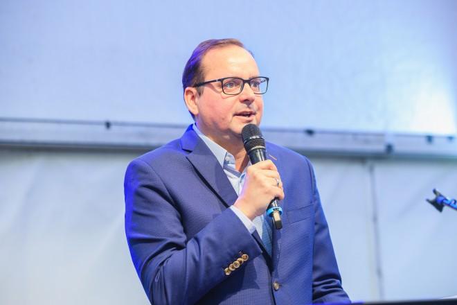 Oberbürgermeister Thomas Kufen bei der Jubiläumsfeier der MEG.